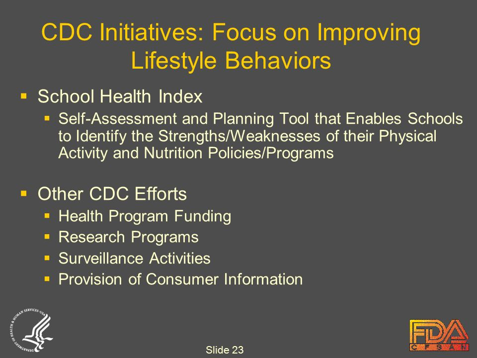 Slide 23 CDC Initiatives: Focus on Improving Lifestyle Behaviors  School Health Index  Self-Assessment and Planning Tool that Enables Schools to Identify the Strengths/Weaknesses of their Physical Activity and Nutrition Policies/Programs  Other CDC Efforts  Health Program Funding  Research Programs  Surveillance Activities  Provision of Consumer Information