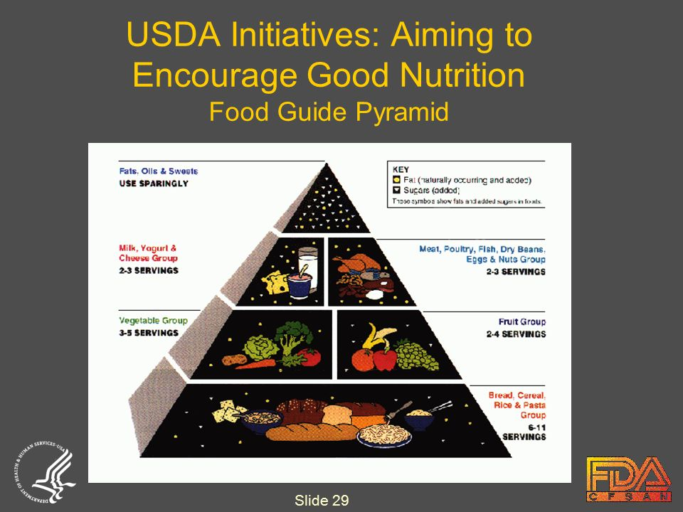 Slide 29 USDA Initiatives: Aiming to Encourage Good Nutrition Food Guide Pyramid