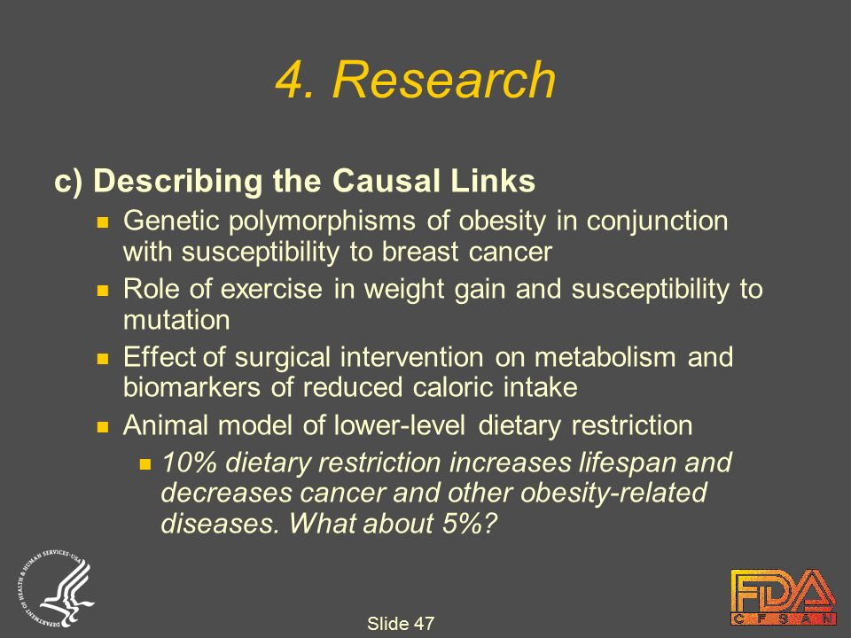 Slide 47 c) Describing the Causal Links Genetic polymorphisms of obesity in conjunction with susceptibility to breast cancer Role of exercise in weight gain and susceptibility to mutation Effect of surgical intervention on metabolism and biomarkers of reduced caloric intake Animal model of lower-level dietary restriction 10% dietary restriction increases lifespan and decreases cancer and other obesity-related diseases.