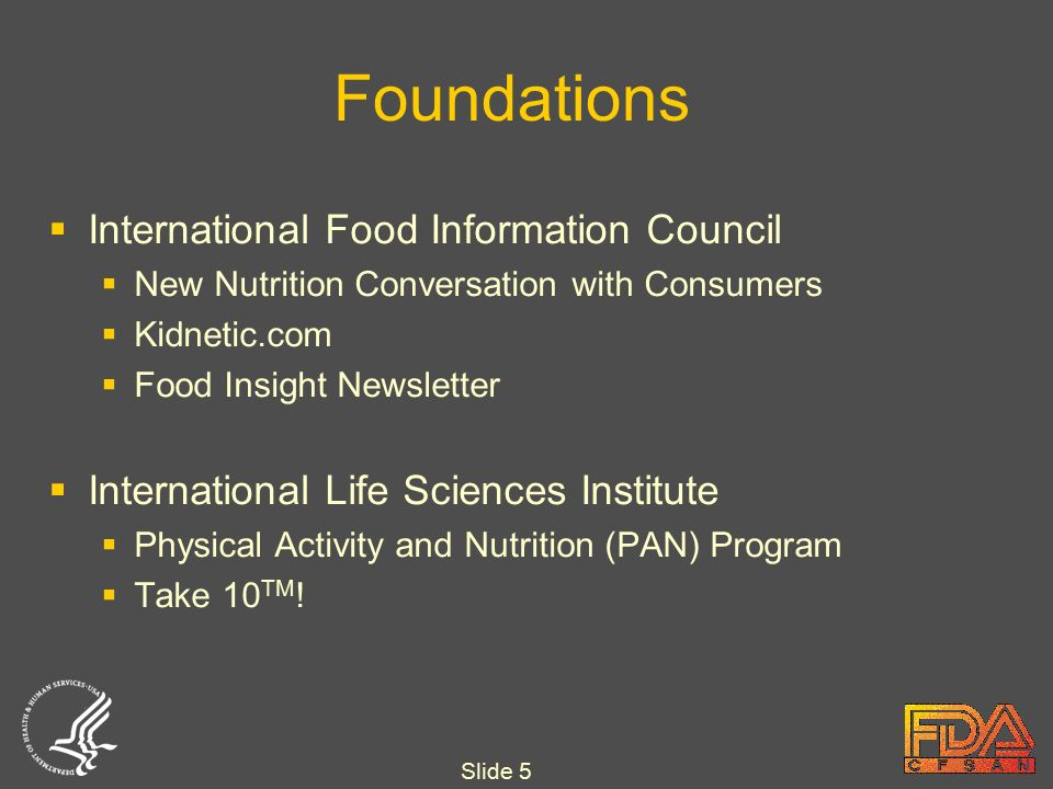 Slide 5 Foundations  International Food Information Council  New Nutrition Conversation with Consumers  Kidnetic.com  Food Insight Newsletter  International Life Sciences Institute  Physical Activity and Nutrition (PAN) Program  Take 10 TM !
