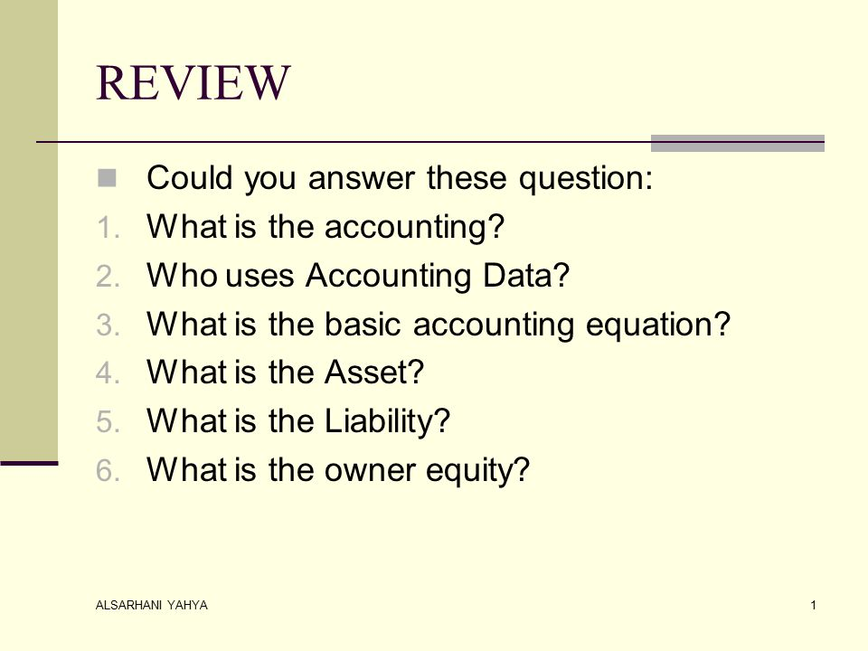 ALSARHANI YAHYA 1 REVIEW Could You Answer These Question 1