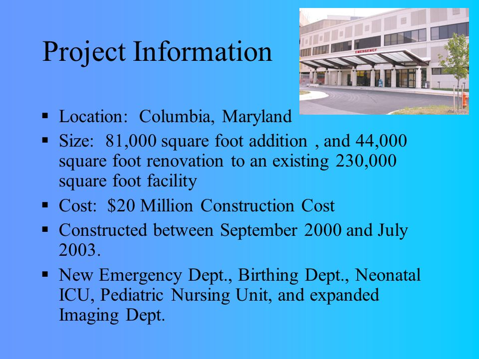Howard County General Hospital Schematic Design Proposal