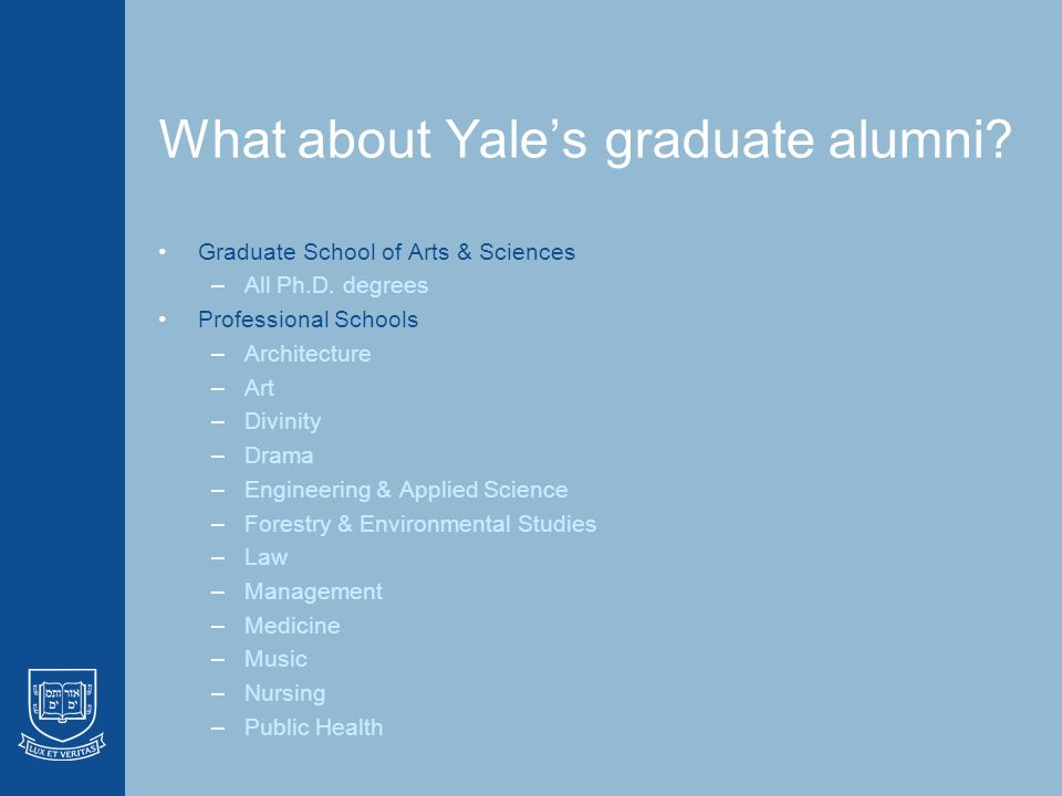 Tracking Outcomes On Graduates of Yale University Karen