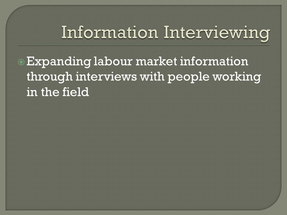  Expanding labour market information through interviews with people working in the field