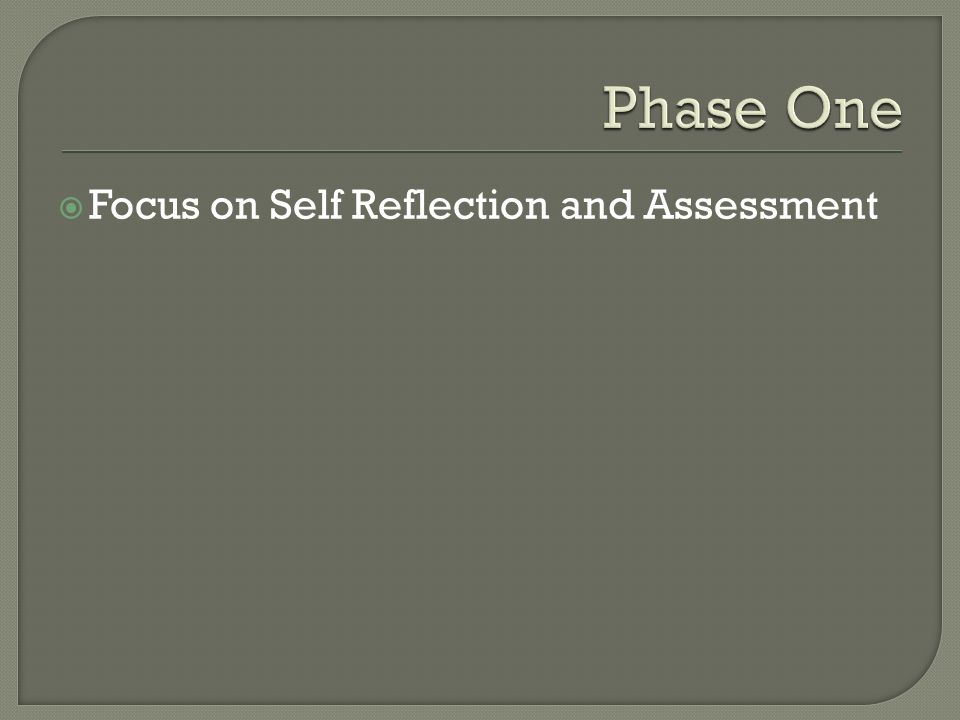  Focus on Self Reflection and Assessment