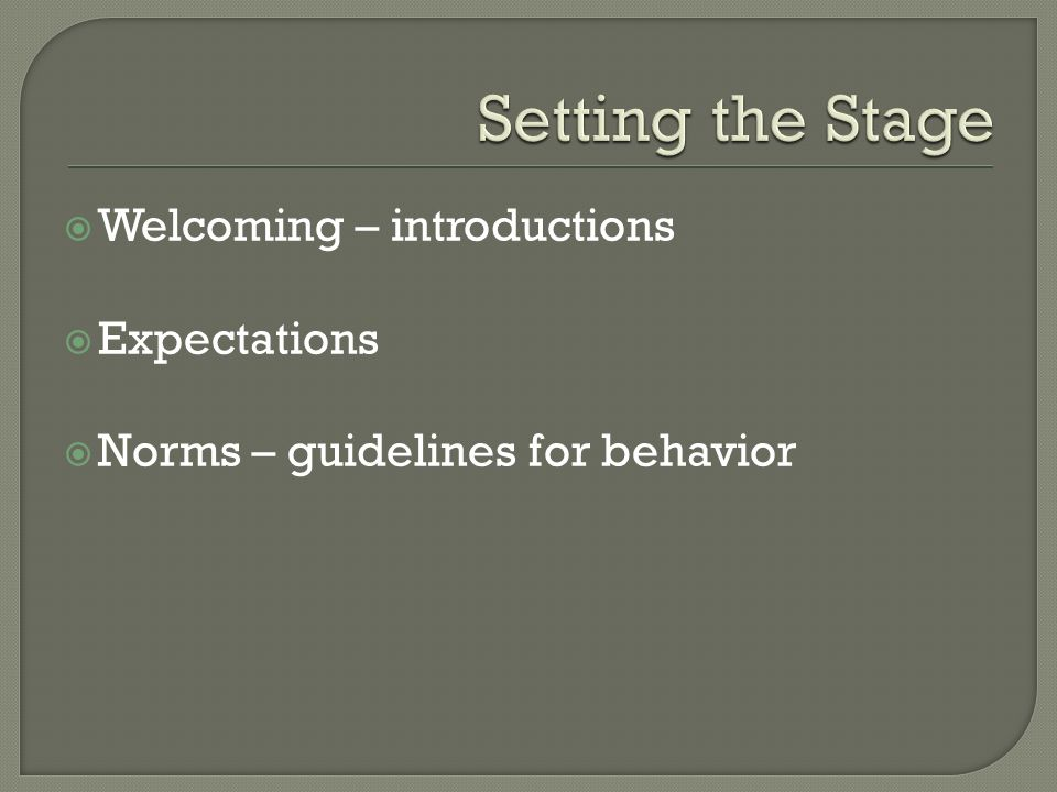  Welcoming – introductions  Expectations  Norms – guidelines for behavior