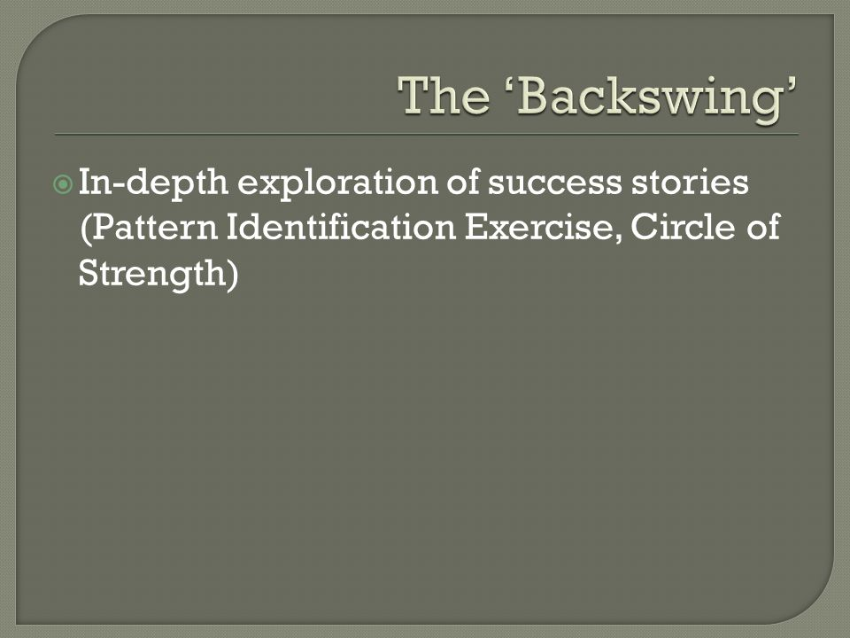  In-depth exploration of success stories (Pattern Identification Exercise, Circle of Strength)