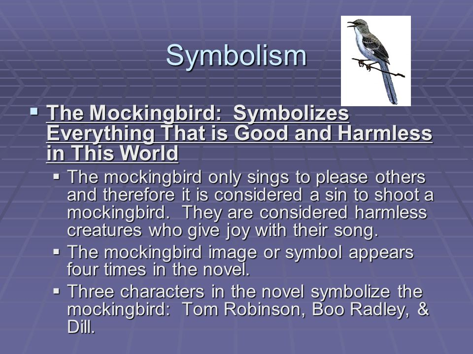 essay mockingbird symbol (click the symbolism infographic to download) the title of the book is to kill a mockingbird, so we're thinking that mockingbirds must be important they first appear when jem and scout are learni (click the symbolism infographic to download) if maycomb were disney world , the radley place.