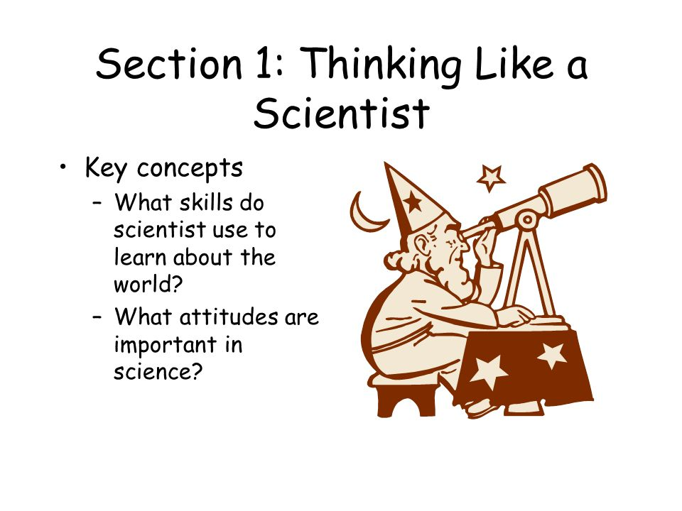 Section 1: Thinking Like a Scientist Key concepts –What skills do scientist use to learn about the world.