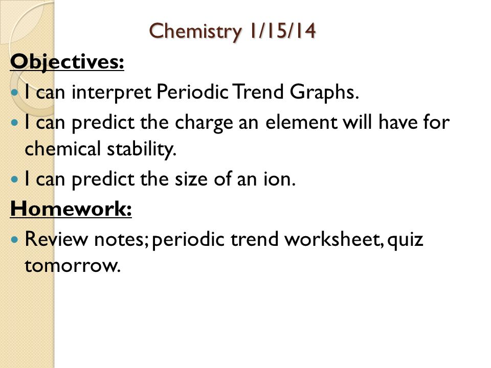 Periodic Table Objectives I. Worksheet. Chemistry 1 Worksheet Periodic Trends At Mspartners.co