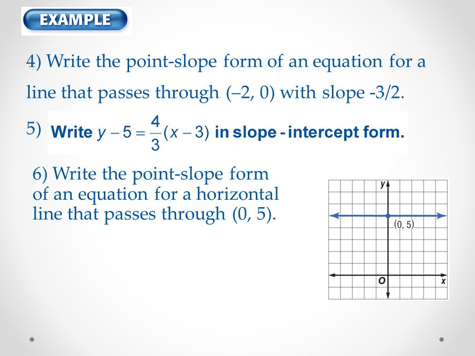 point slope form horizontal line  Complete the following problems in your lecture notebook ...