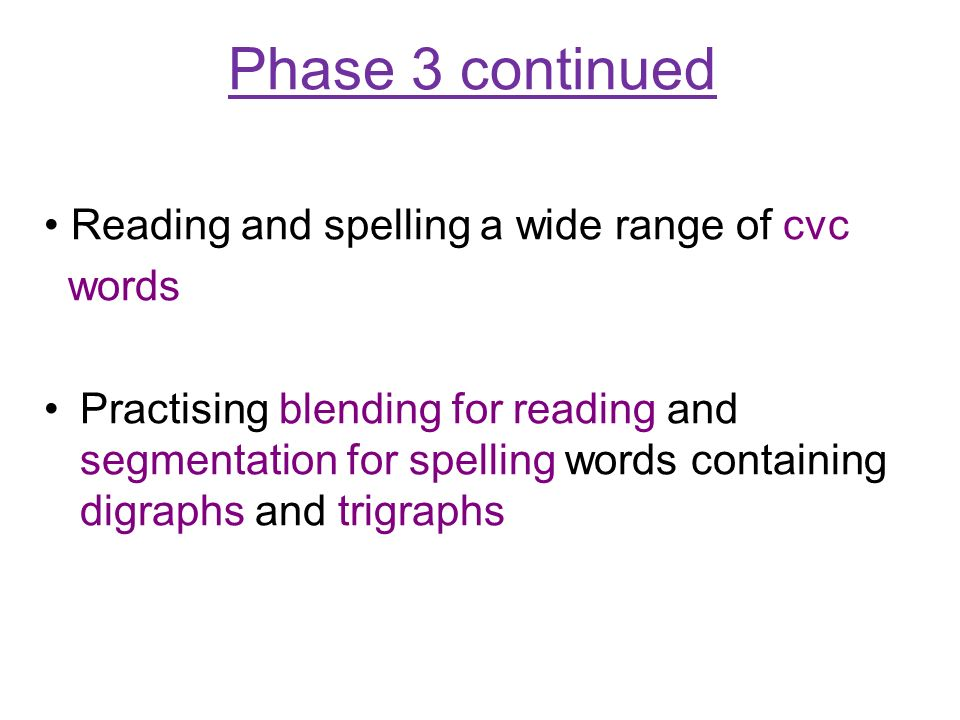 Phase 3 continued Reading and spelling a wide range of cvc words Practising blending for reading and segmentation for spelling words containing digraphs and trigraphs