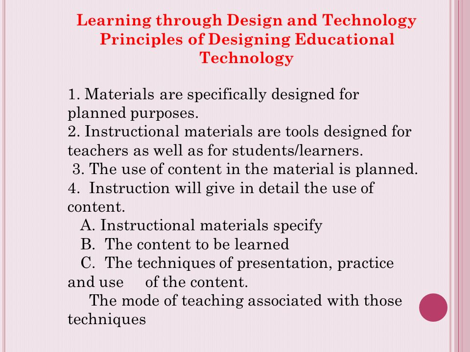 Learning Through Design And Technology Principles Of Designing