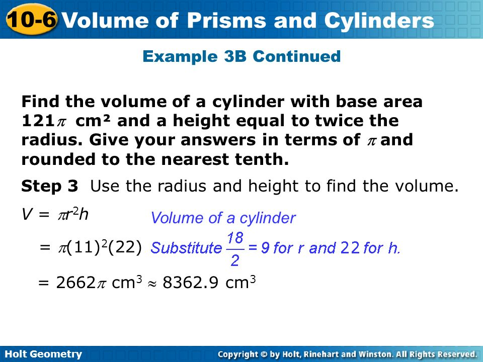 10-6 problem solving volume of prisms and cylinders answers