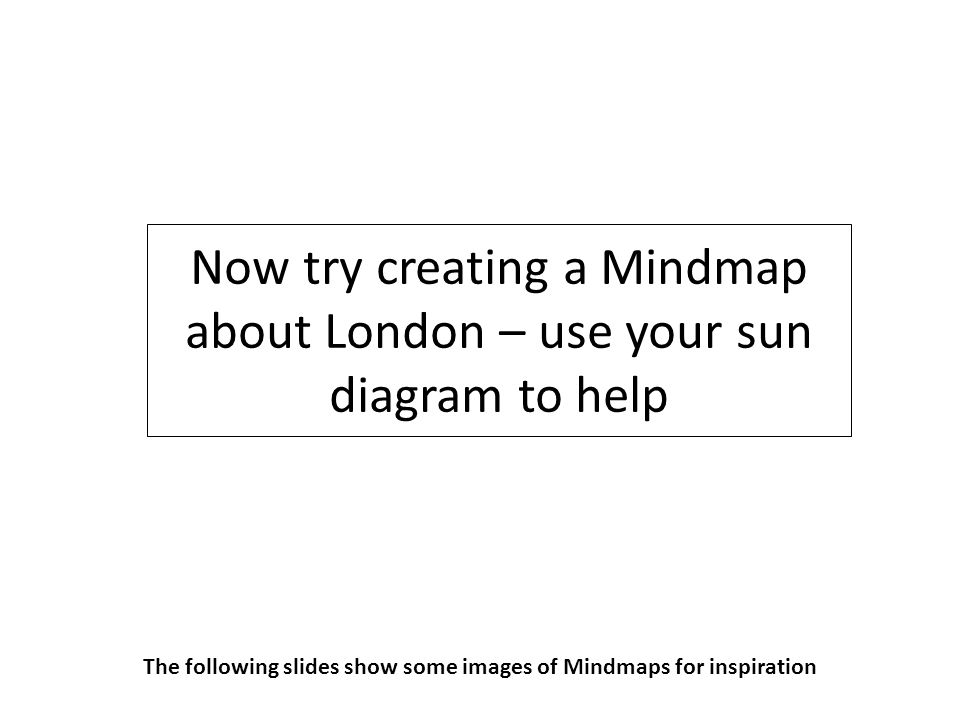 Now try creating a Mindmap about London – use your sun diagram to help The following slides show some images of Mindmaps for inspiration