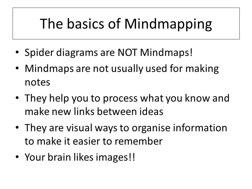 The basics of Mindmapping Spider diagrams are NOT Mindmaps.