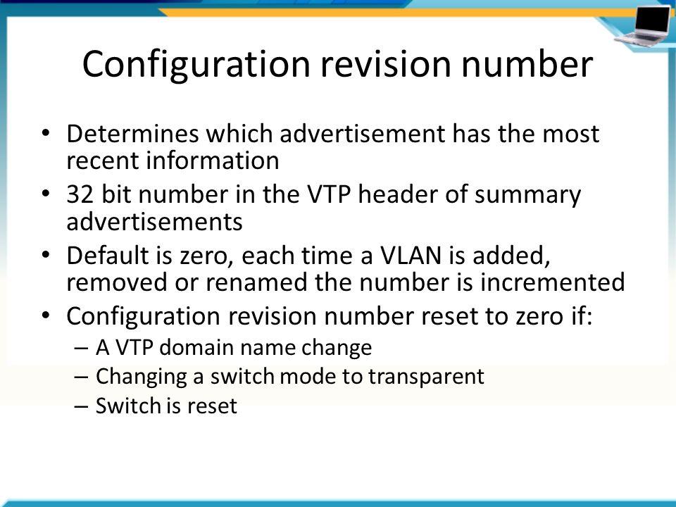 Vtp configuration revision number