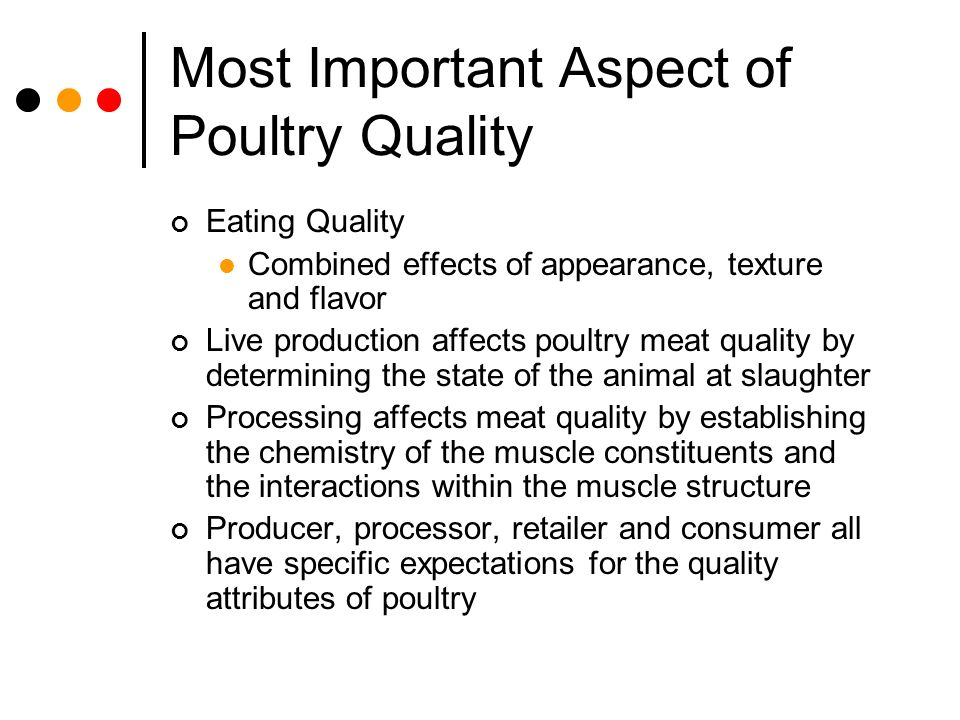 Factors affecting poultry meat quality.