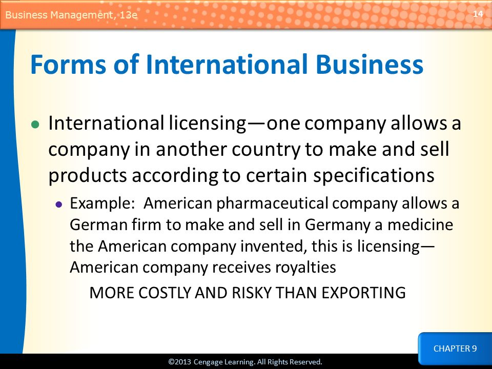examples of licensing in international business
