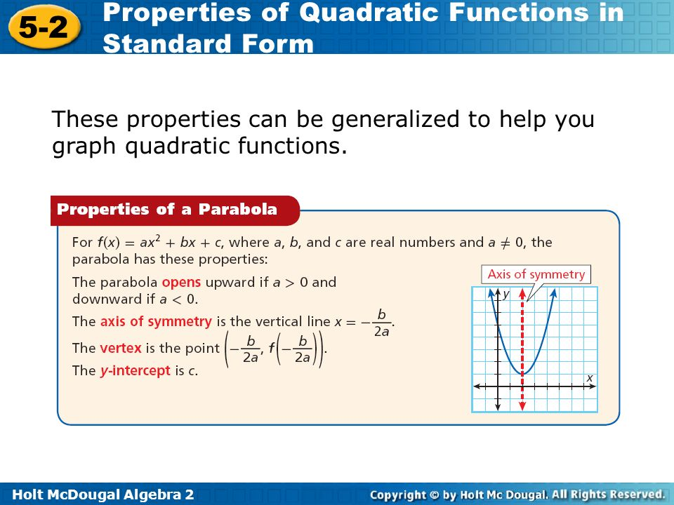 Holt Mcdougal Algebra Properties Of Quadratic Functions In Standard
