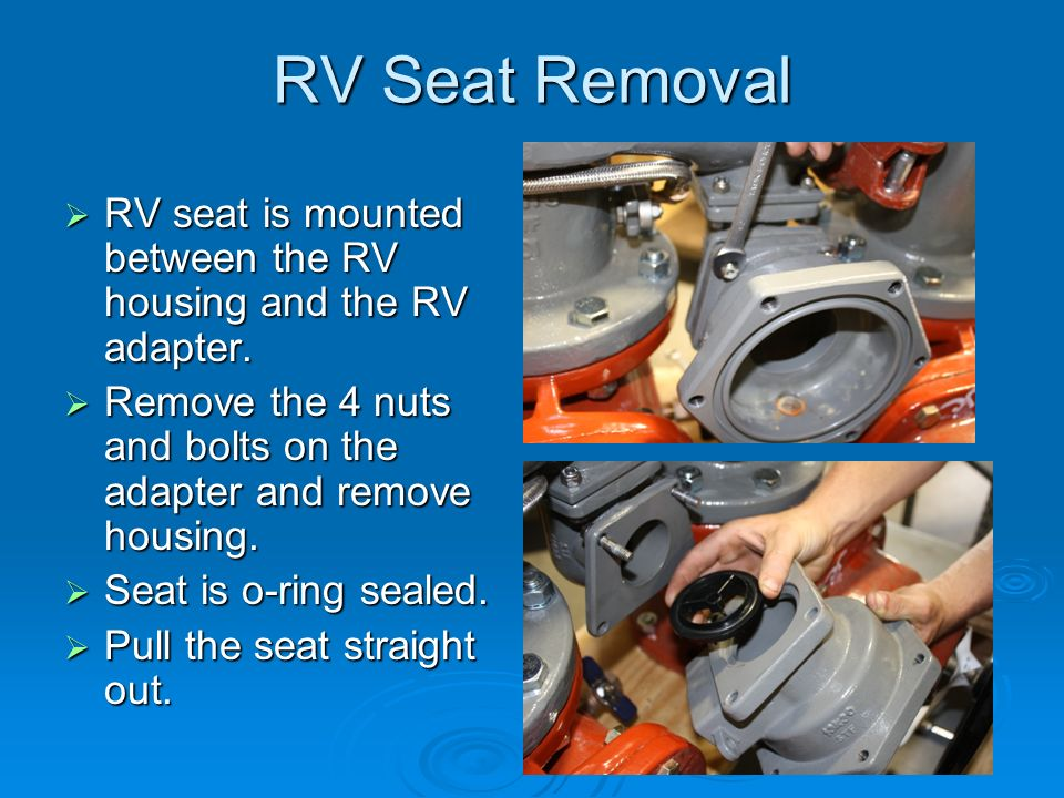 RV Seat Removal  RV seat is mounted between the RV housing and the RV adapter.