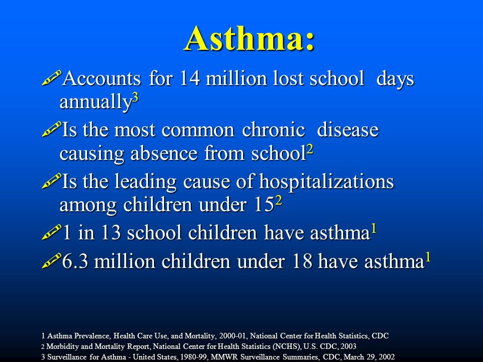 Asthma power point  Asthma:  Accounts for 14 million lost