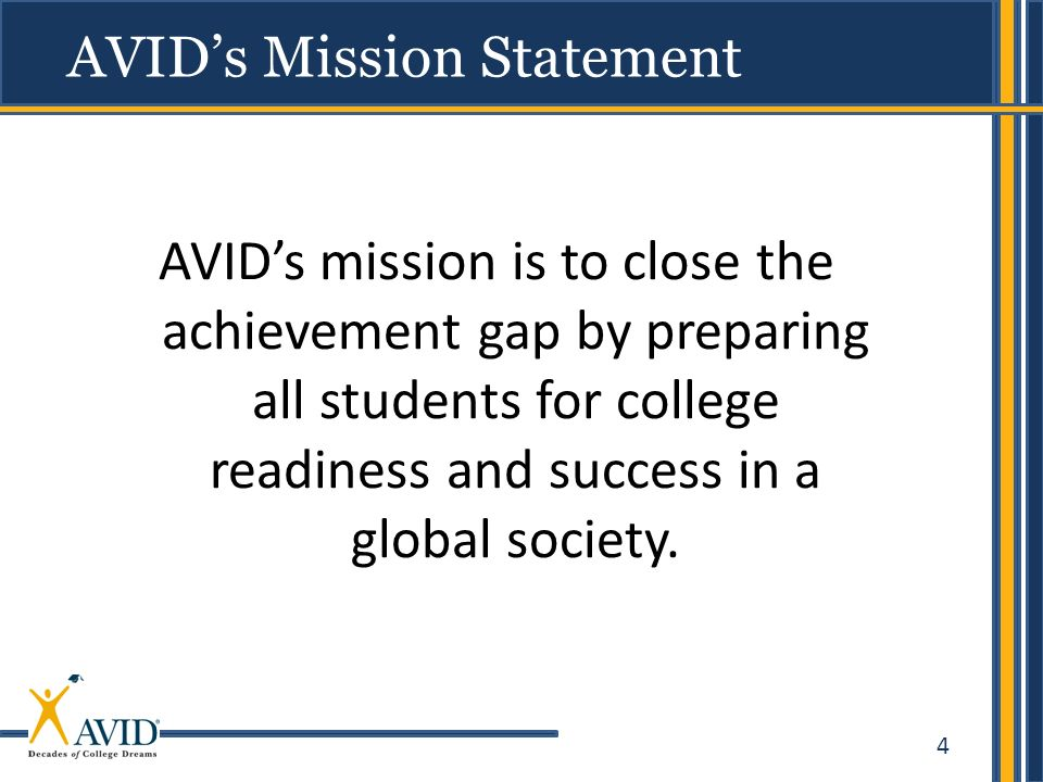 4 avids mission is to close the achievement gap by preparing all students for college readiness