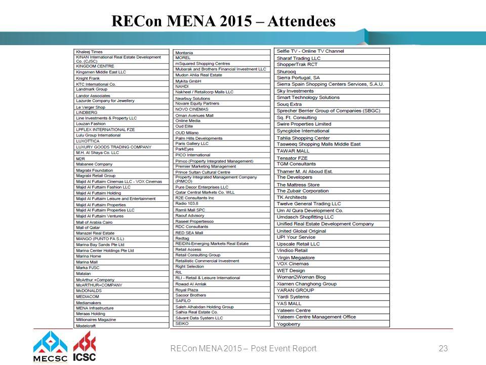 November 2015 Middle East Council of Shopping Centres RECon