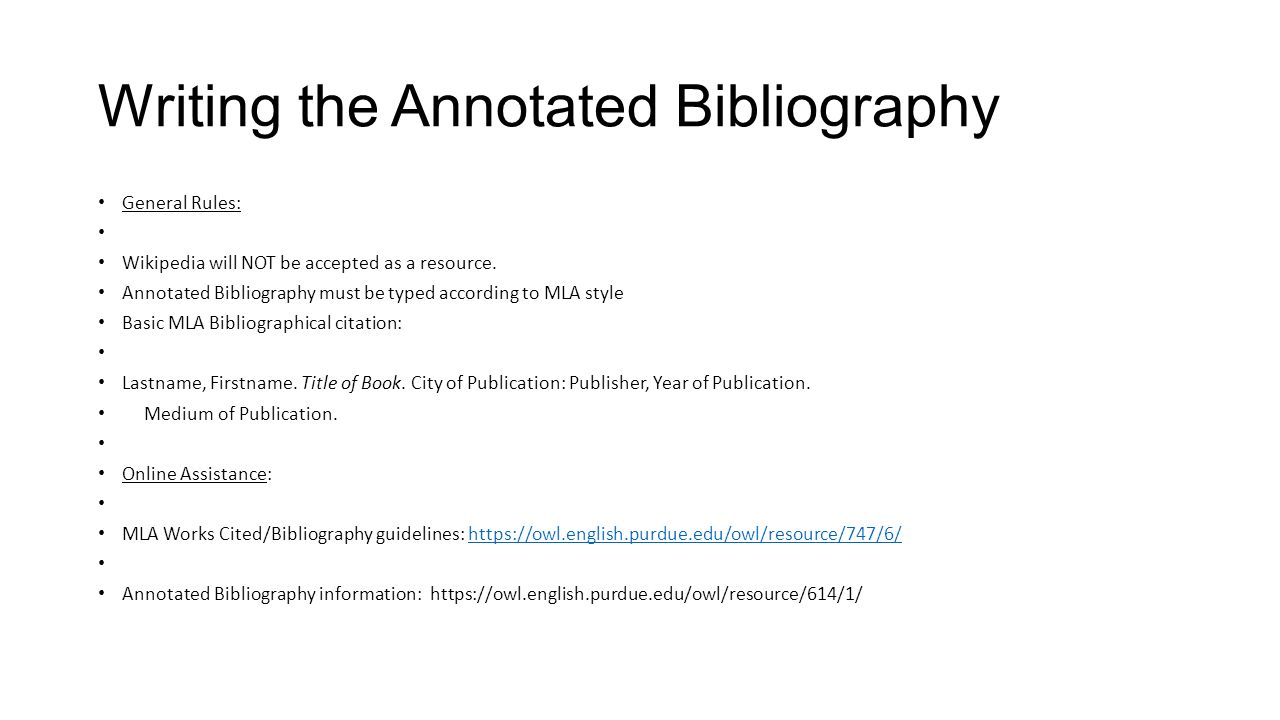 spacing for annotated bibliography mla