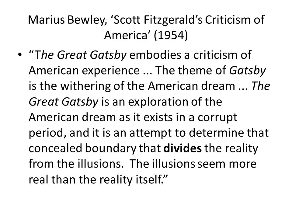 literary criticism great gatsby american dream