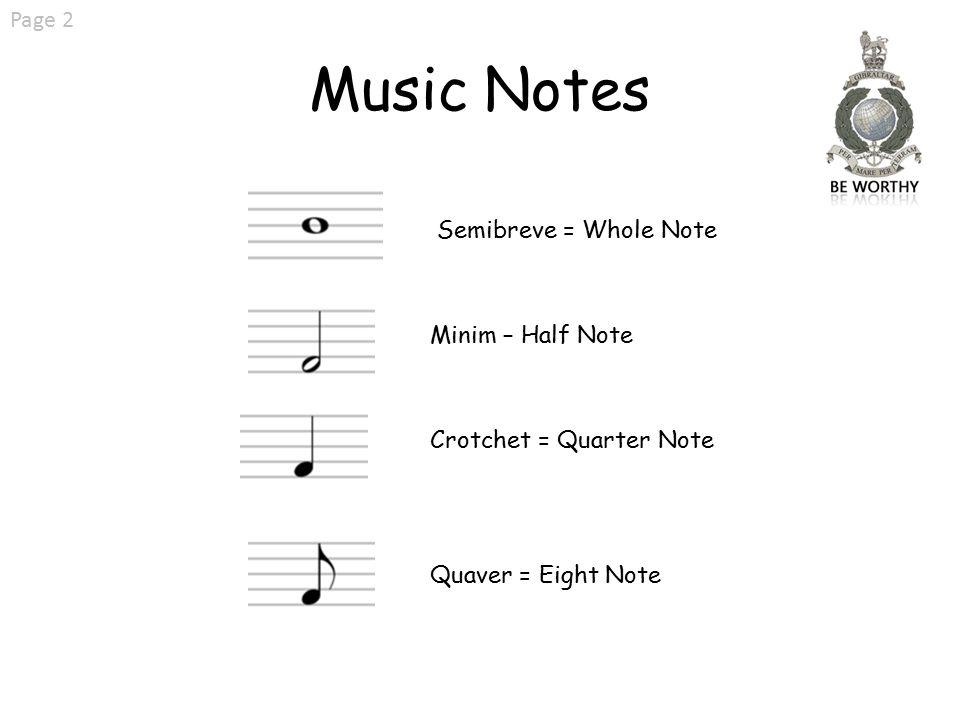 2 Music Notes Page Semibreve Whole Note Minim Half Crotchet Quarter Quaver Eight
