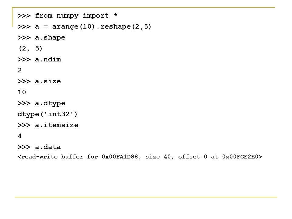 NumPy References The Numpy Example List   Tables of