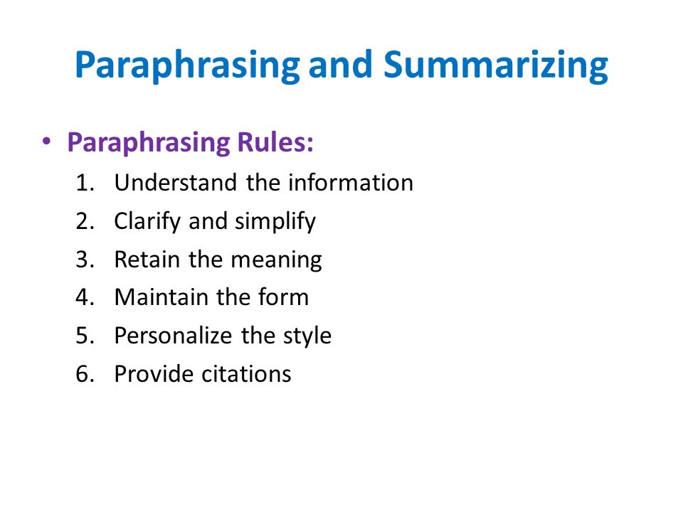 rules to writing a research paper