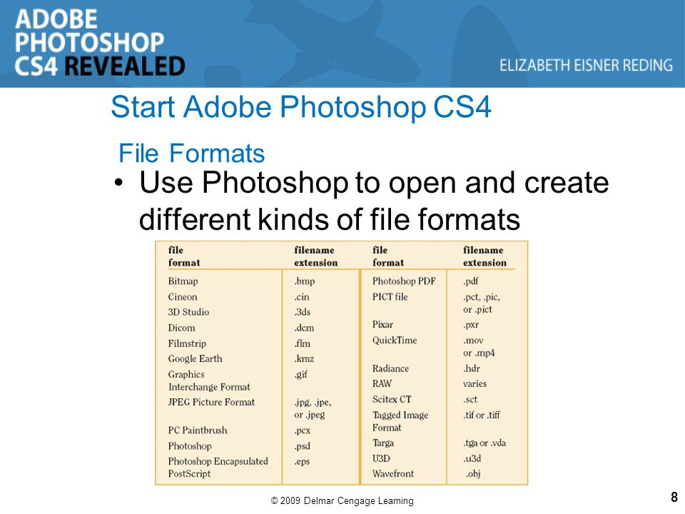 Chapter 1 getting started with adobe photoshop cs4 ppt download 8 start adobe photoshop cs4 file formats use photoshop to open and create different kinds of file formats 8 2009 delmar cengage learning various ccuart Image collections