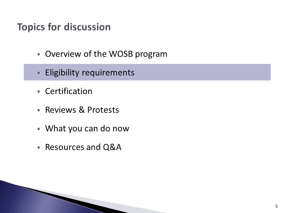 1 Overview Of The Wosb Program Eligibility Requirements