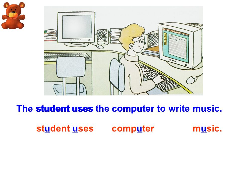 The student uses the computer to write music.student uses computer music.