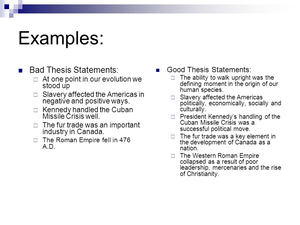 bad thesis examples