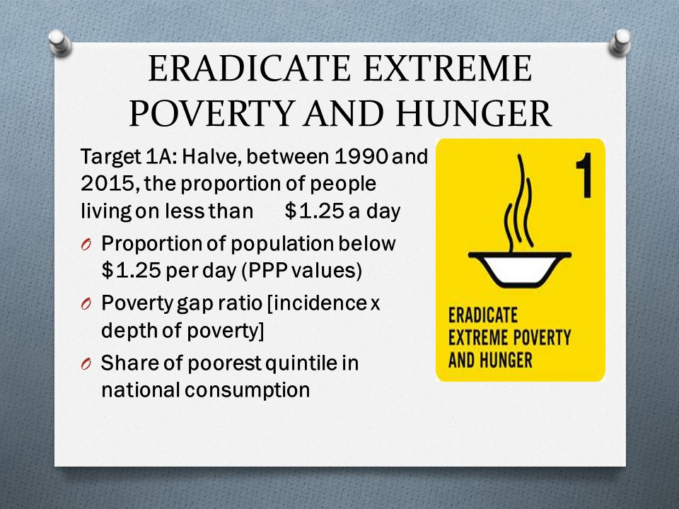 to eradicate extreme poverty and hunger
