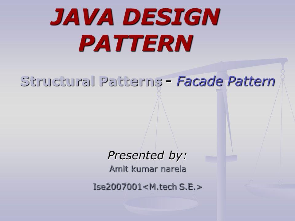 Java Design Pattern Structural Patterns Facade Pattern Presented