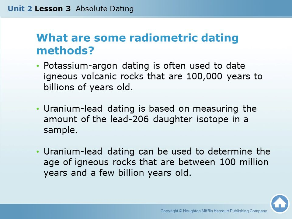 What type of rocks can absolute dating be used for and what does it tell us