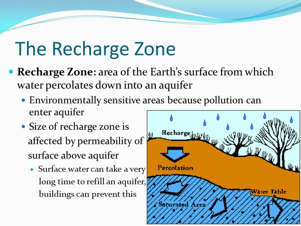 The Recharge Zone Recharge Zone: area of the Earth's surface from which water percolates down into an aquifer Environmentally sensitive areas because pollution can enter aquifer Size of recharge zone is affected by permeability of surface above aquifer Surface water can take a very long time to refill an aquifer, buildings can prevent this