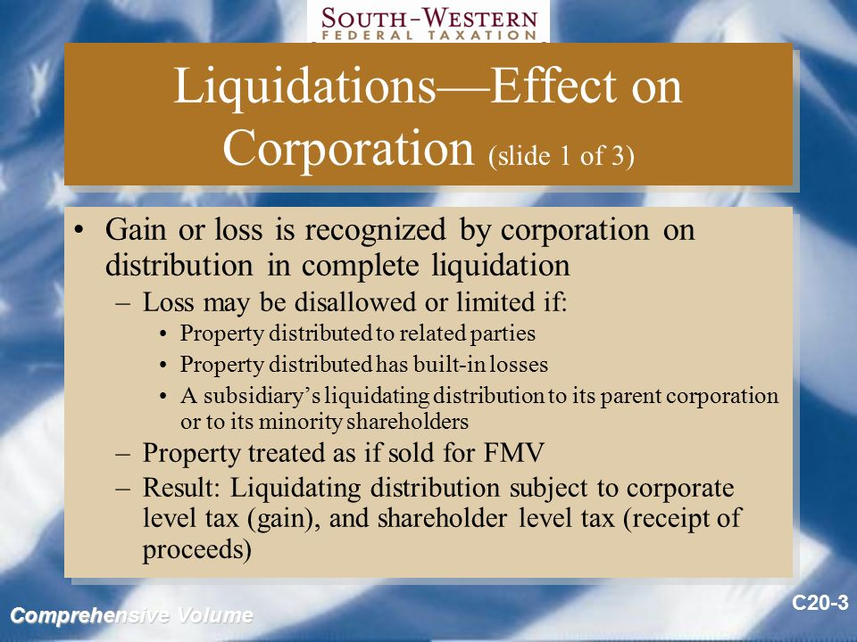 Non liquidating distribution s corporation bankruptcy