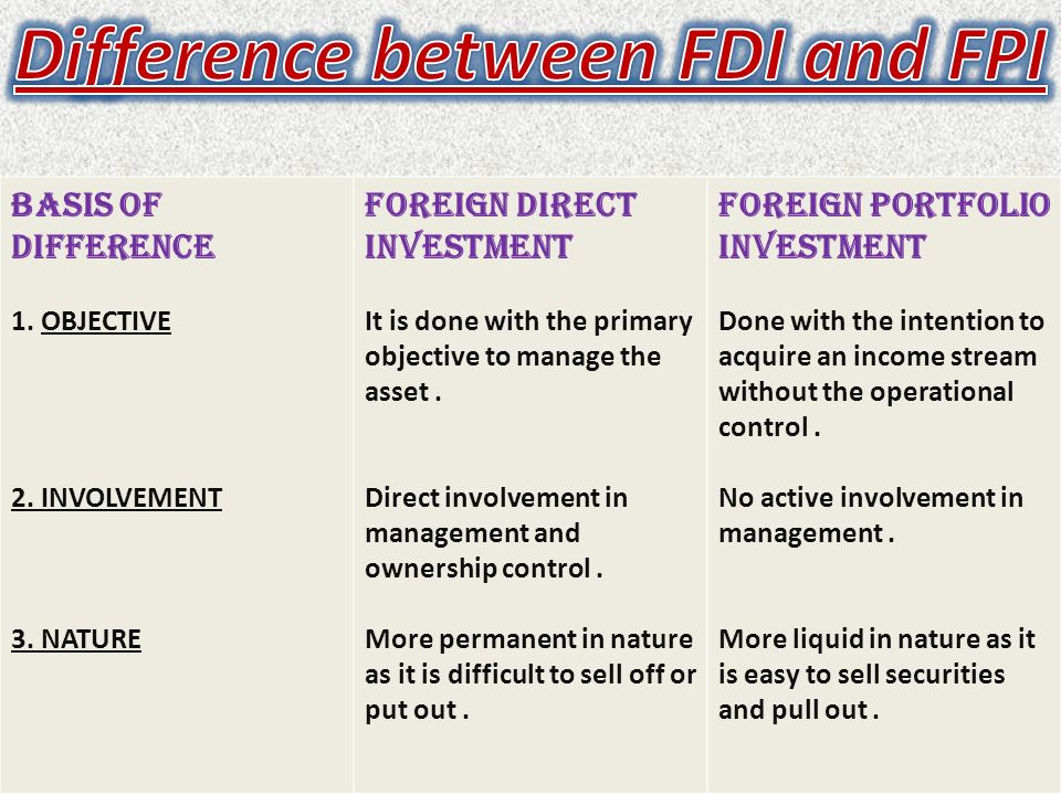 Foreign portfolio investment vs foreign direct investment free property investment seminars london