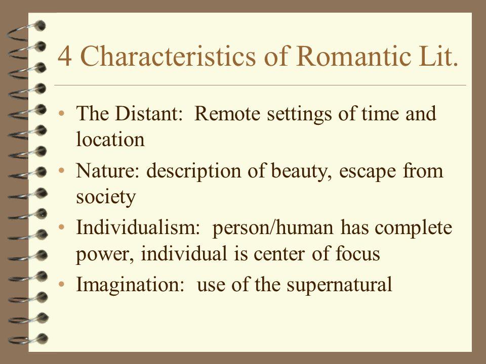Romanticism characteristics in literature