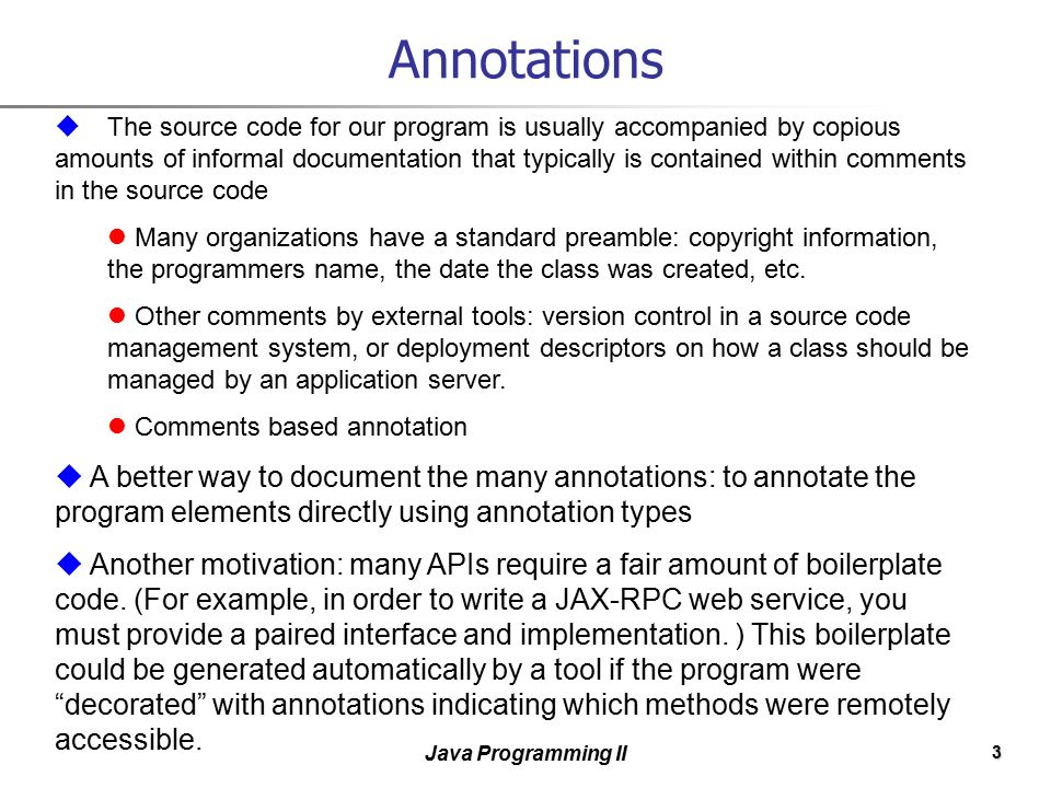 1 Java Programming II Annotations and Reflection  - ppt download
