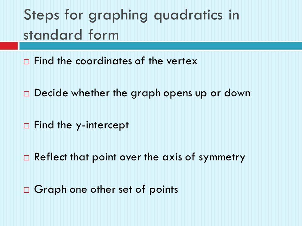 Quadratic Functions In Standard Form 41b Review A Quadratic