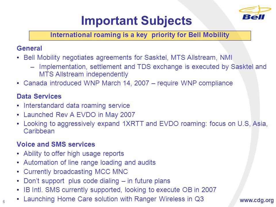 CDG Regional Roaming Panel Presentation Bell Mobility Todd