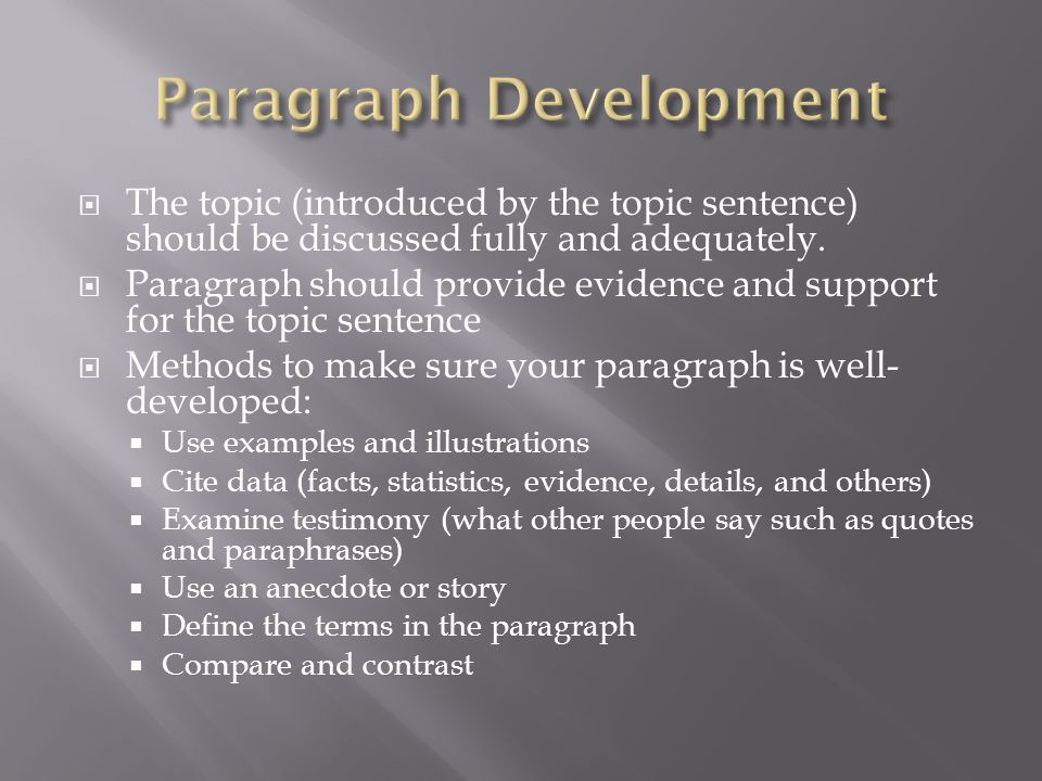 example of paragraph development by illustration