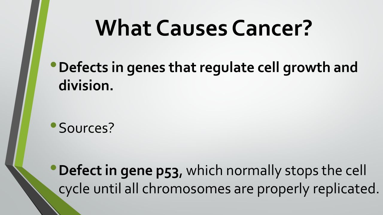 What Causes Cancer. Defects in genes that regulate cell growth and division.