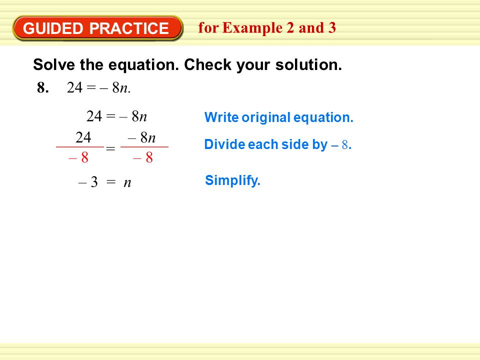 GUIDED PRACTICE for Example 2 and = – 8n.